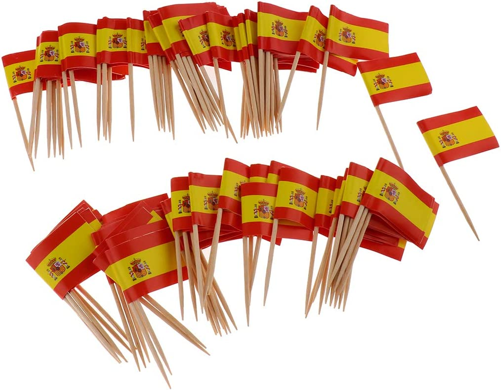 Compra P Prettyia 100pcs Bandera de Alemania/Grecia/Australia/Canadá/España de Palillos para Aperitivos - España en Amazon.es