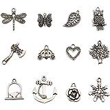 Bingcute 100Pcs Wholesale Bulk Lots Tibetan Silver Plated Mixed Pendants Charms Jewelry