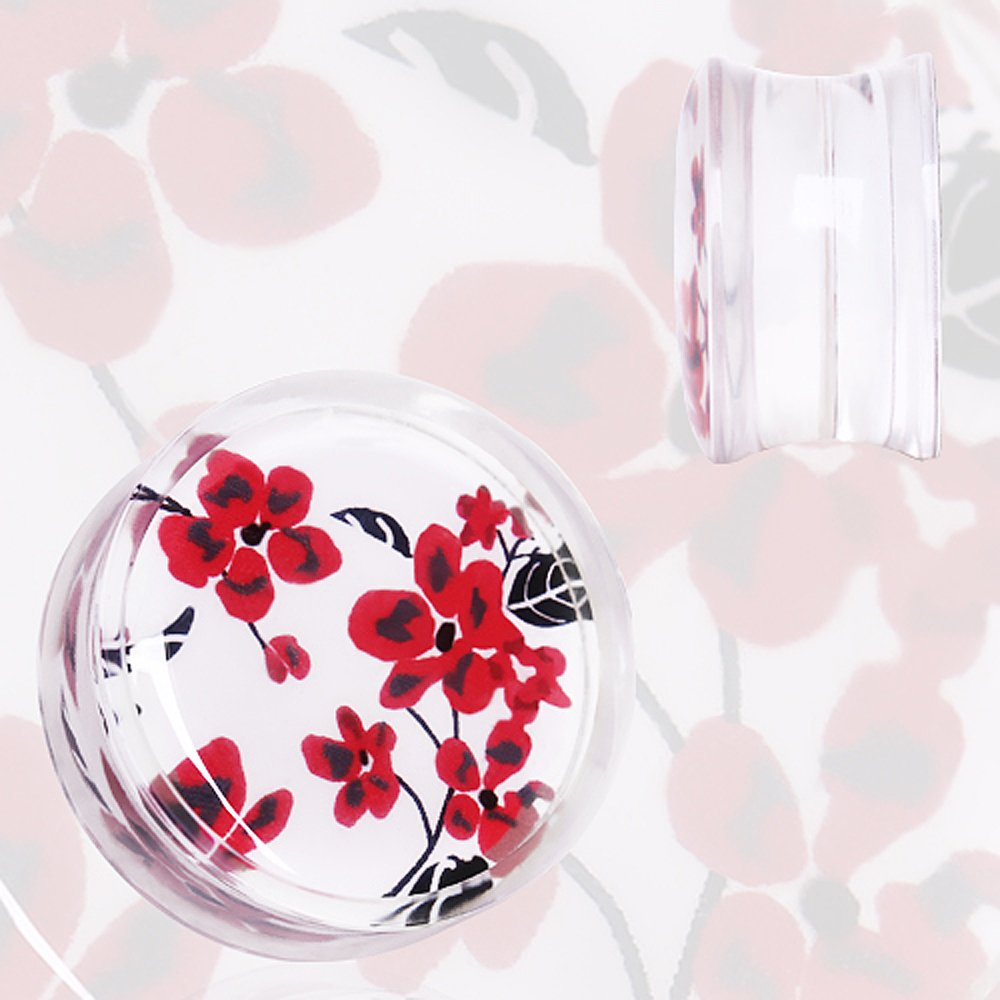 Clear Acrylic Red and White Floral Print Saddle Plug Sold as a Pair
