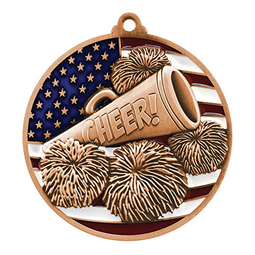 Bronze Patriotic Cheerleading Medal - 2.75