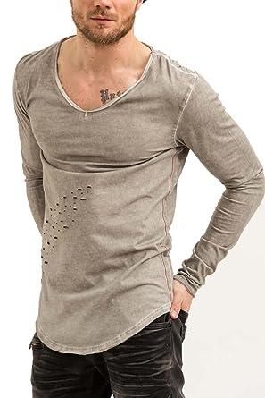 861d0ffc79c3 trueprodigy Casual Herren Marken Long Sleeve Einfarbig Basic, Oberteil Cool  und Stylisch mit V-