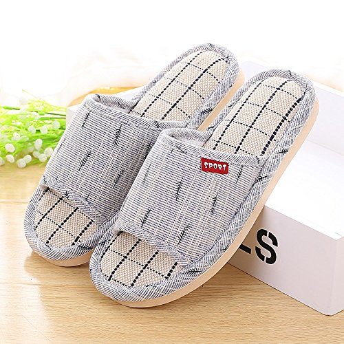 Folding Chairs XIAOLIN Lovers Home Non-slip Linen Slippers Summer Men And Women Indoor Thick Bottom Home Floor Sandals Flax Comfortable(Optional Colors, Size) (Color : 05, Size : 389) 02