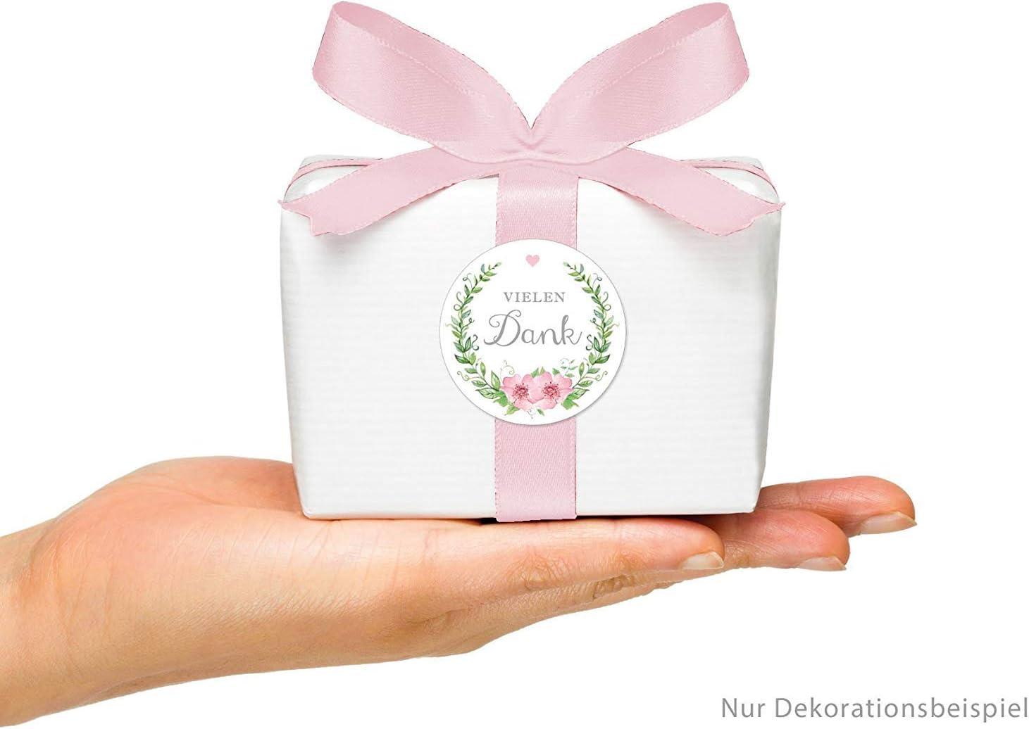 Bl/üten und Herz in gr/ün//rosa f/ür Freudentr/änen-Verpackungen//Taschent/ücher zur Hochzeit /• Papieraufkleber: 4 cm 48 STICKER:F/ür Freuden Tr/änen Etiketten mit Kranz rund matt
