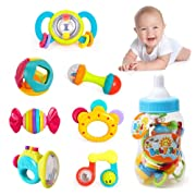 Liberty Imports Deluxe 7 Piece Baby Rattles Teether & Shakers in Milk Bottle | Grab and Spin Musical Fun Toy Gift Set | Early Educational Toys for 3, 6, 9, 12 Month Baby Infant, Newborn, Toddler
