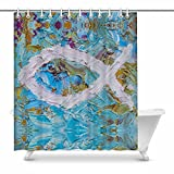 InterestPrint Colorful Christian Fish Christian Symbol Home Decor Waterproof Polyester Bathroom Shower Curtain Bath Decorations with Hooks, 72(Wide) x 84(Height) Inches