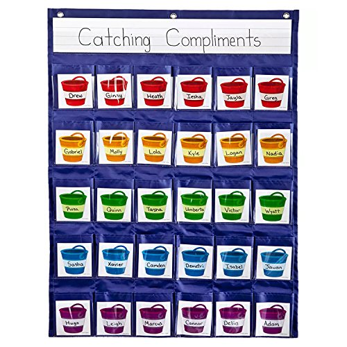 Positive Reinforcement Pocket Chart, Carson-Dellosa Education, Hanging Behavior Pocket Chart, Classroom Management Pocket Chart for Cell Phones, Calculators, 30 Pocket Organizer (Parking Management Best Practices)