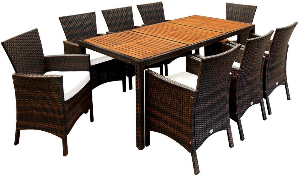 Casaria Conjunto de sillas y mesa de poliratán tablero mesa de madera de acacia marrón muebles de jardín Set de muebles