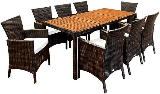 Casaria Conjunto de sillas y mesa de poliratán tablero mesa de madera de acacia marrón muebles de jardín Set de muebles: Amazon.es: Jardín