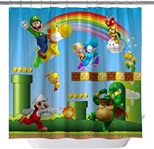 Super Mario Shower Curtains Cartoon for Kids Children Boy, 3D Print Decor Fabric Curtains Sets with Hooks, 71 x 71 Inch Blue