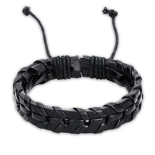9024f77f929c Pulseras hombre cuero negro brazalete ajustables regalos originales para  niño San valentin Cumpleaños  Amazon.es  Joyería