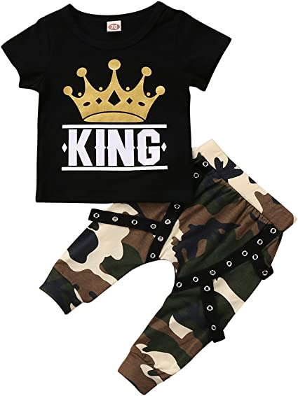 US Newborn Kids Baby Boys Girls Tops T-shirt Camo Pants 2PCS Outfits Clothes Set