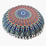 Weiliru Purple Mandala Floor Pillow Cushion Seating Throw Cover Hippie Decorative Bohemian Pillow Cases,Boho Indian,Standard Size 18×18Inch