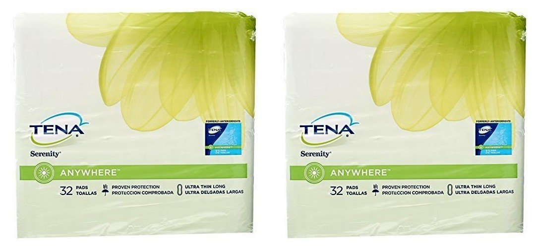 Amazon.com: Tena Serenity Anywhere Ultra Thin Pads, Long, 64 Count: Health & Personal Care