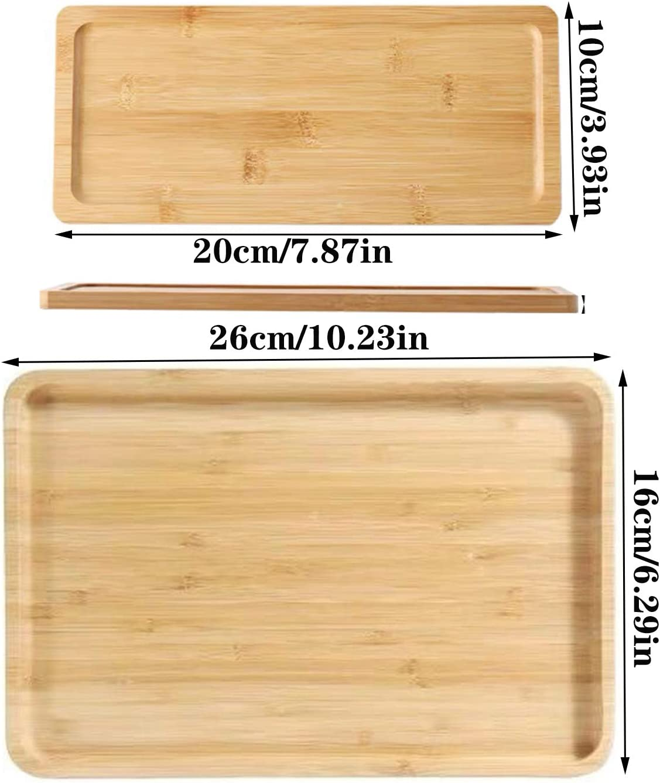 Plateau service en bambou bio Plateau /à th/é rectangulaire en bois Plateau rectangulaire en bambou convient /à la cuisine /à la maison ou comme plateau pour les collations de th/é de lapr/ès midi 2 pi/èces