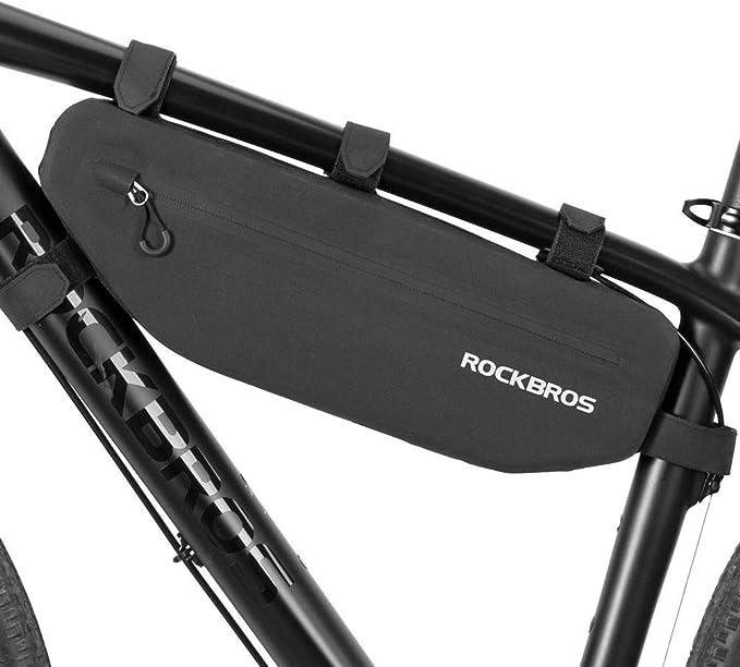 ROCKBROS Bolsa Cuadro Bicicleta Alforja Impermeable para MTB Bici Carretera Capacidad Grande 3L/4L, Negro