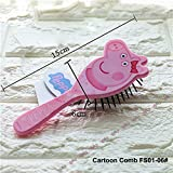 CH 1 Piece 15CM Girls Pink Peppa Pig Hair Brush TV Show Piggy Hairbrush Cute Bow Detangling Bristles, Plastic