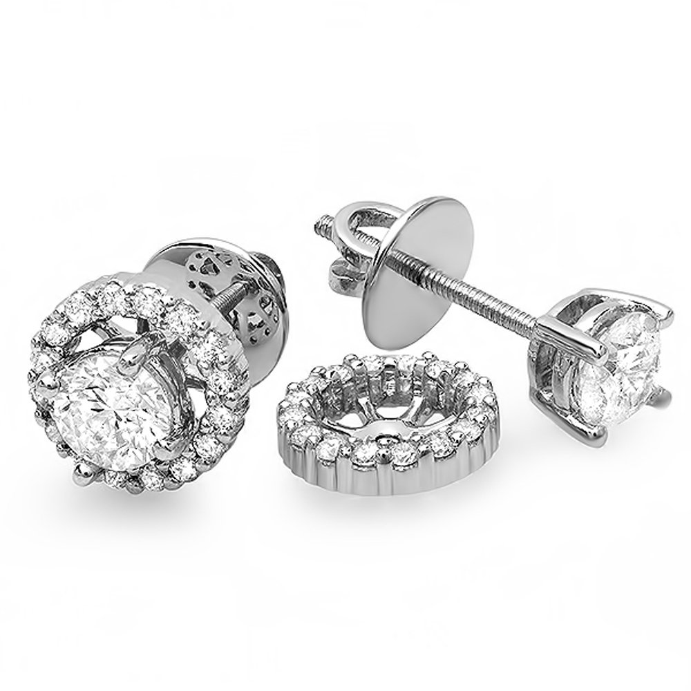 1.00 Carat (ctw) 14K White Gold Round Diamond Halo Stud Earrings with Removable Jackets