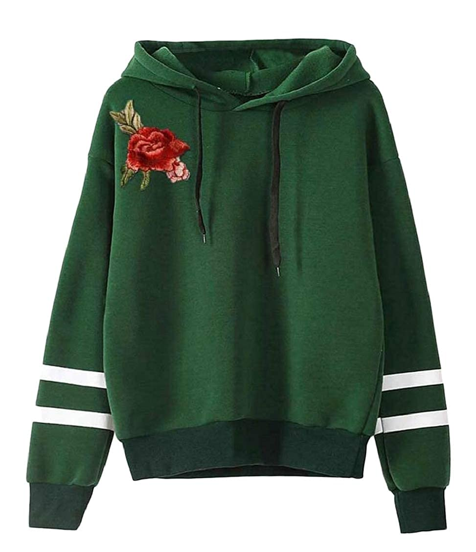 Sweatwater Womens Active Contrast Color Hoodie Tops Embroidery Cropped Sweatshirts