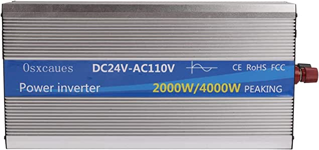 Osxcaues2000 Watts (4000W peaking) Power Inverter 24V to 110V/120v, Pure Sine Wave Inverter DC to AC Converter 110 Volts AC Outlets and 1 USB Port Approved Under ROHS FCC EMC
