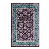 Mohawk Home Prismatic Worcester Purple Distressed Floral Precision Printed Area Rug, 5'x8′, Purple and Blue