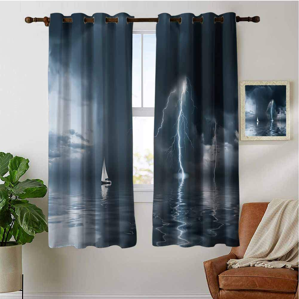 PRUNUSHOME Yacht at The Ocean Ultra Soft Kitchen Curtains, 2 Panel Set for Kitchen Cafe Decor Waterproof Window Covering for Bathroom(Set of 2 Panels,42 by 45 Inch) by PRUNUSHOME