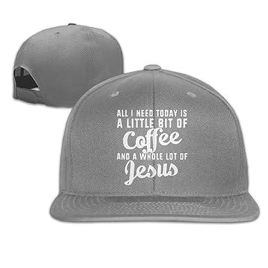 WilliamKL Need Is A Little Bit Of Coffee and Jesus Flat Bill Snapback  Adjustable Trucker Caps 2c51ff63890d