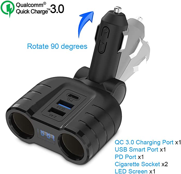 Cigarette Lighter Splitter QC3.0 Adapter, 2-Socket 12V/24V Multi Power Port USB C Car Charger with LED Voltage Display Dual USB, PD Port for Smart Phones, Tablets, GPS Dash Cam- Build in 10A Fuse