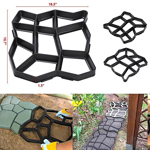 go2buy Driveway Pathmate Stone Paver Concrete Mold Paving Stepping Stone Mould Pavement,16.7 x 16.5 x 1.5'' (Patio Pavers Build Steps With)
