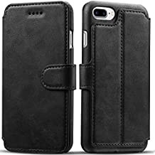iPhone 8 Plus Case, iPhone 7 Plus Case, Pasonomi iPhone 7 Plus Leather Wallet Case - [Slim Fit] Vintage Flip Case Cover with Stand Function & Credit Card Slots for iPhone 8 Plus & 7 Plus (Black)