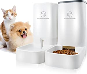 Automatic Pet Feeder and Water Dispenser Gravity Feeder - Dog Wet Food and Water Dispenser Set - Auto Multiple Jmiyav Self Cat Feeder Bowl Suitable for Cat Dog