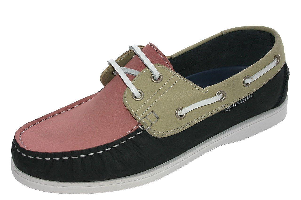 Ladies Seafarer Yachtsman Nubuck Leather Boat Deck Shoes Sizes 4 - 8 ((UK 3), Navy/beige/Pink)