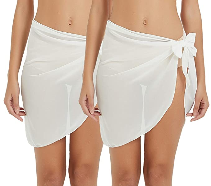 5a0c82da7abb1 Sythyee Women's Sarong Wrap Beach Swimwear Chiffon Cover Up Short Pareo  Bikini Swimsuit Wrap Skirt Bathing