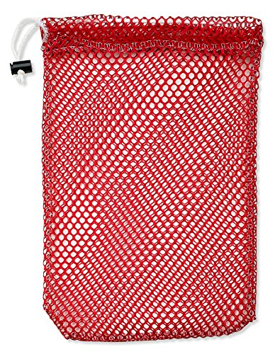 """Mesh Stuff Bag - 15"""" x 22"""" - Durable Mesh Bag with Sliding Drawstring Cord Lock Closure. Great for Washing Delicates, Rinsing Beach Toys, Seashell Collecting or Scout Mess Bags. (Red Beach Bag)"""