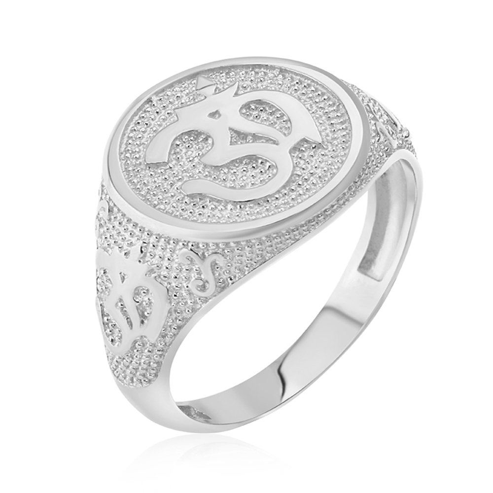 Men's 925 Sterling Silver Textured Band Hindu Om (Aum) Yoga Ring (Size 7) by Men's Fine Jewelry (Image #3)