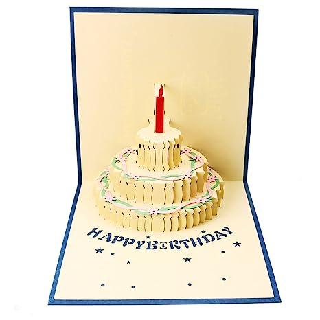 Osunp Carte Danniversaire Pop Up 3d Faite à La Main Cadeau Gâteau Joyeux Anniversaire Cartes De Vœux Avec Enveloppe Pour Enfants Amis