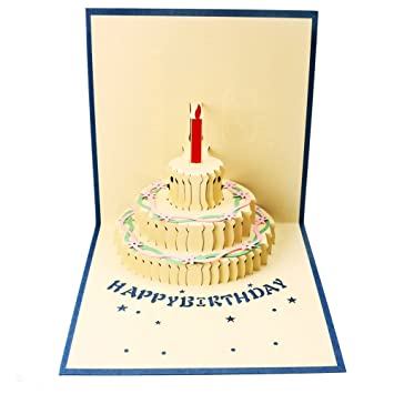 birthday pop up card 3d handmade gift happy birthday cake greeting cards with envelope for kids - Happy Birthday Pop Up Card