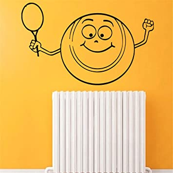 etiqueta de la pared decoración Pelota de tenis sonriente de ...