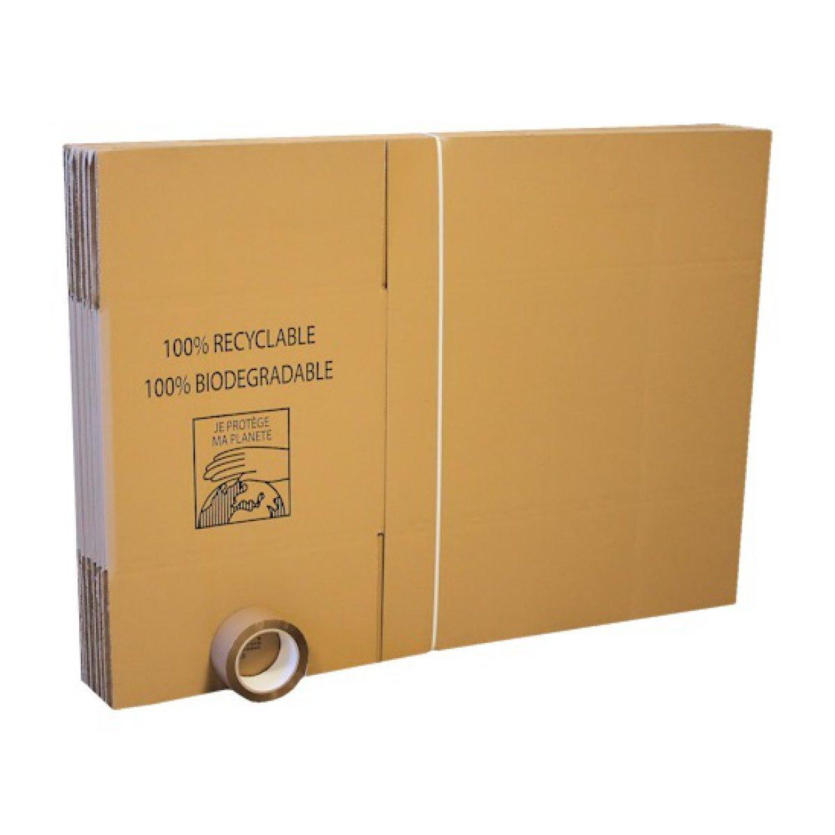 Pack de 15 cartons déménagement poignées avec 1 adhésif