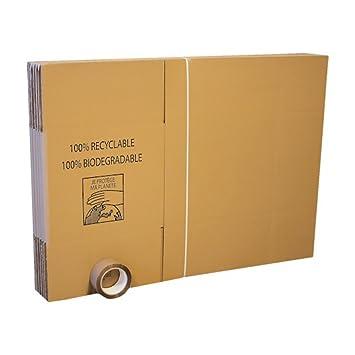 Pack con 10 cajas para mudanza + 66 metros de adhesivo + etiquetas.: Amazon.es: Oficina y papelería