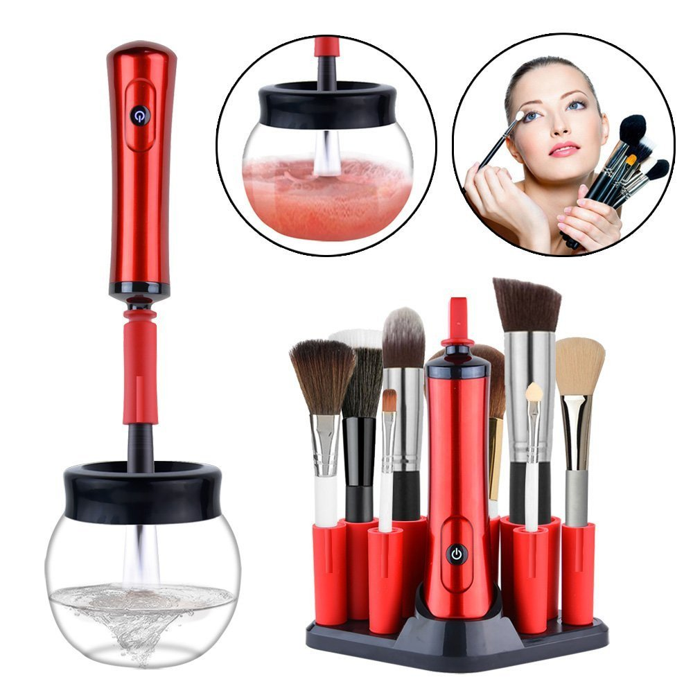 Addprime Makeup Brush Cleaner Kit, Portable Automatic Brush Dryer and Cleaner Deep Thorough Cleaning in Seconds, Suits Most Make Up Brushes Cleaning Kits for Women/Girls (White)