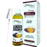 HillDews Black Mustard Seed Oil | 200 ml | Pure | Unrefined | Cold Pressed | Skin & Hair