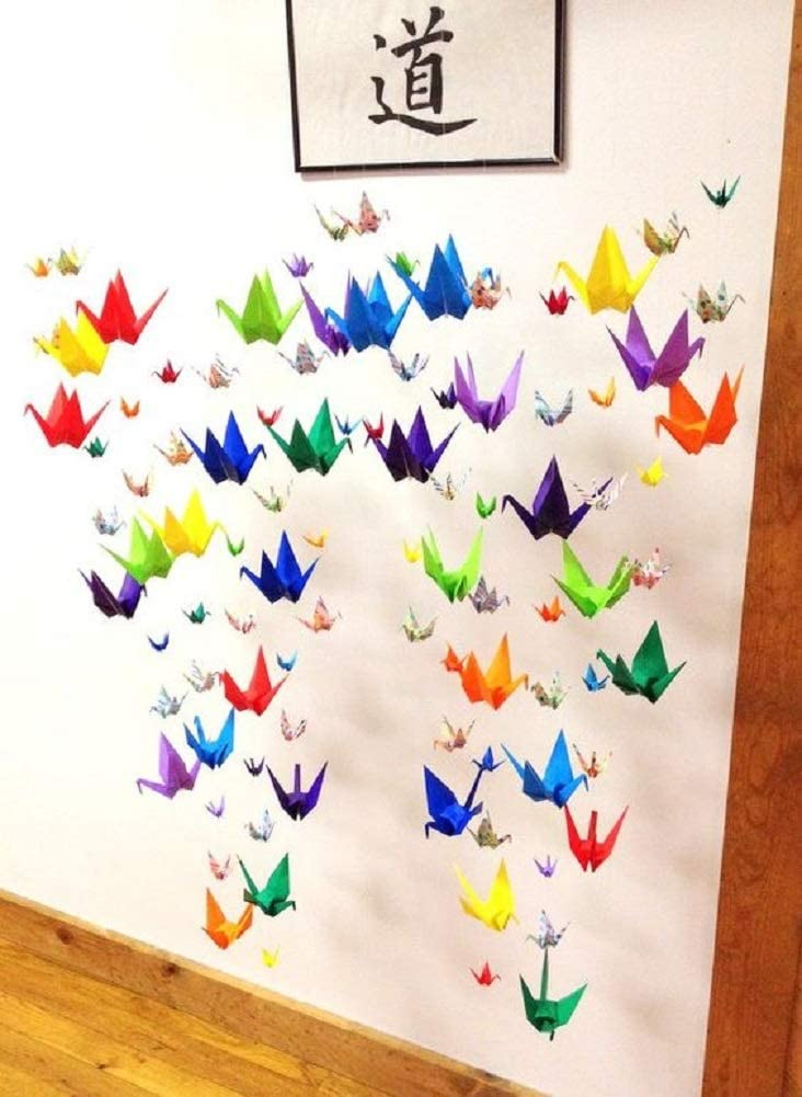 10Strings 15cm Big Size Premade Origami Paper Crane Garlands for Rustic Wedding Party Decorations Rainbow Origami Cranes Folded Bird Streamers for Kids Party Décor Peace Dove-Happiness Good Luck