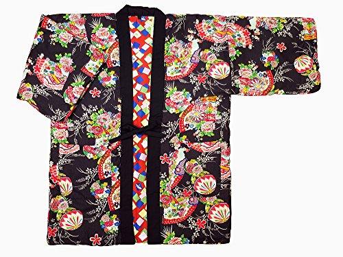【화부채와 마리・검정】 일본 무늬면 들어감 반(半)고지 않겠 리버시블 여성용 프리 사이즈