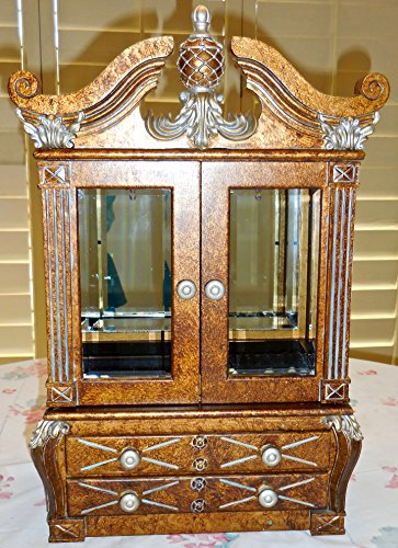 - Jewelry Cabinet,Pineapple Scrolled,Italian design,Burl-wood,Beveled Mirror,Drawers