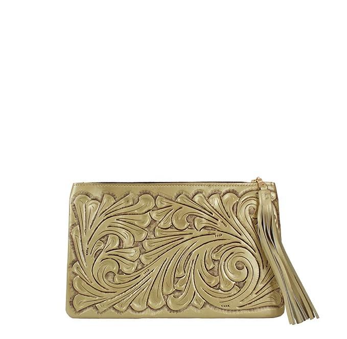 c7d45f95d Clutch plateado de piel cincelada a mano (Dorado): Amazon.com.mx ...