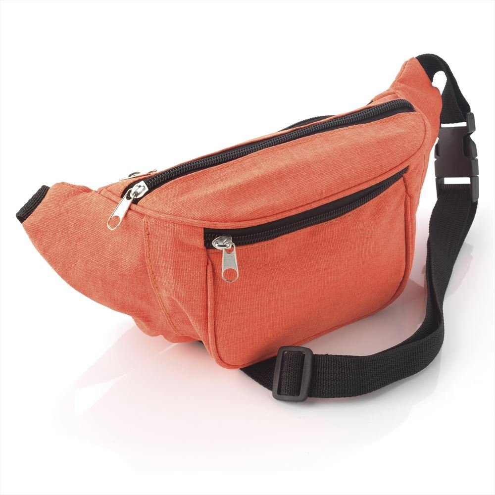 Womens/Girls Peachy Orange Lightweight Zip Carrier Bum Bag With Pocket Compartments & Adjustable Comfort Strap 10