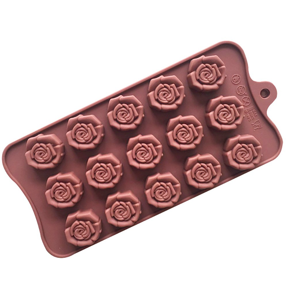 Molde de silicona para repostería de chocolate, gelatina, dulces, 15 agujeros, forma de rosa, 1 unidad: Amazon.es: Hogar