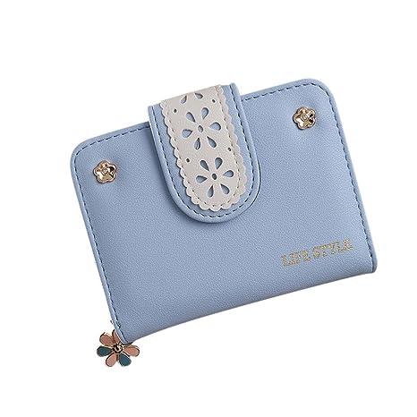 Cartera de pequeña Piel Monedero de Elegante y Moda Azul para Mujer y Niña por ESAILQ