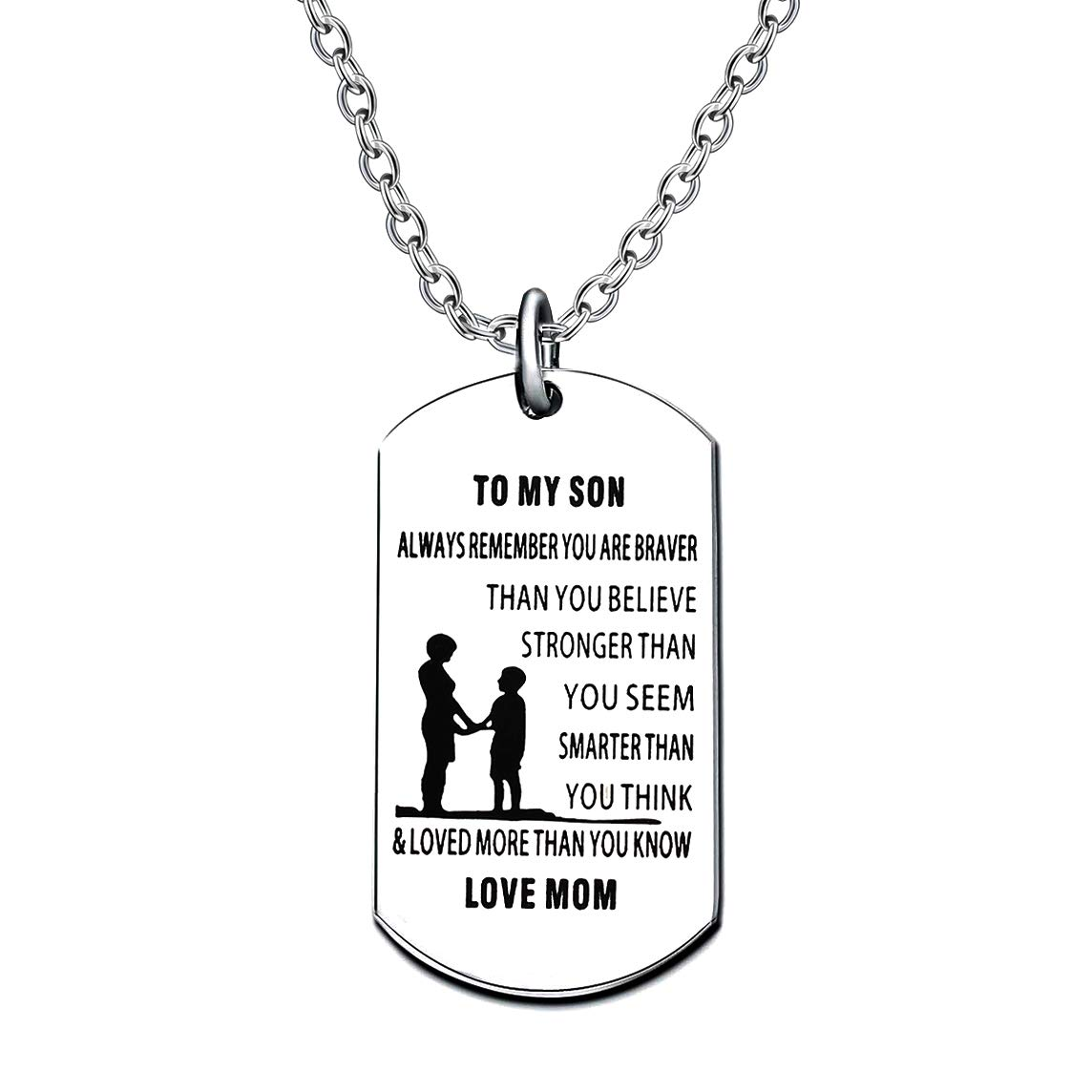 Mother Son Dog Tag Necklace for Men Boy to My Son You are Braver Stronger Smarter Than You Think Love Mom Stainless Steel lauhonmin AN095-CA