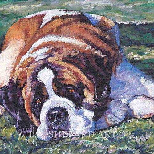 A St. Bernard Dog art portrait print of an LA Shepard painting - Bernard Painting